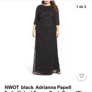 ADRIANA PAPELL BLACK SEQUINS DRESS